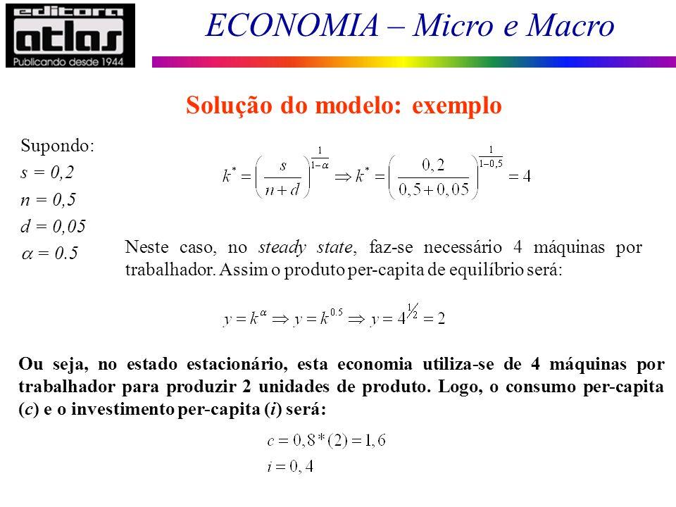 ECONOMIA – Micro e Macro 195 Supondo: s = 0,2 n = 0,5 d = 0,05 = 0.5 Solução do modelo: exemplo Neste caso, no steady state, faz-se necessário 4 máqui