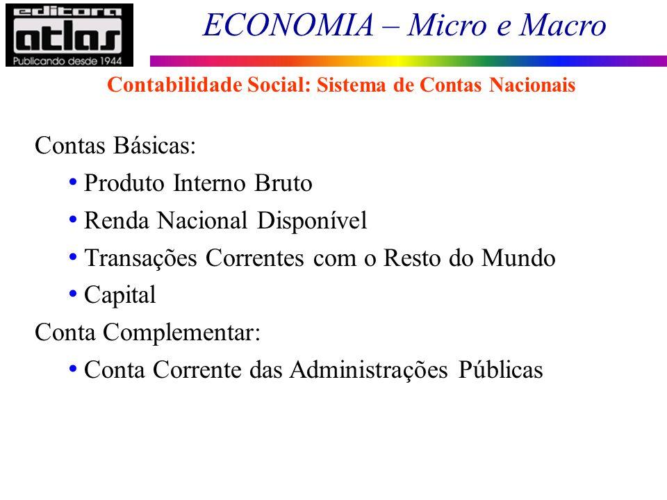 ECONOMIA – Micro e Macro 20 Contas Básicas: Produto Interno Bruto Renda Nacional Disponível Transações Correntes com o Resto do Mundo Capital Conta Co
