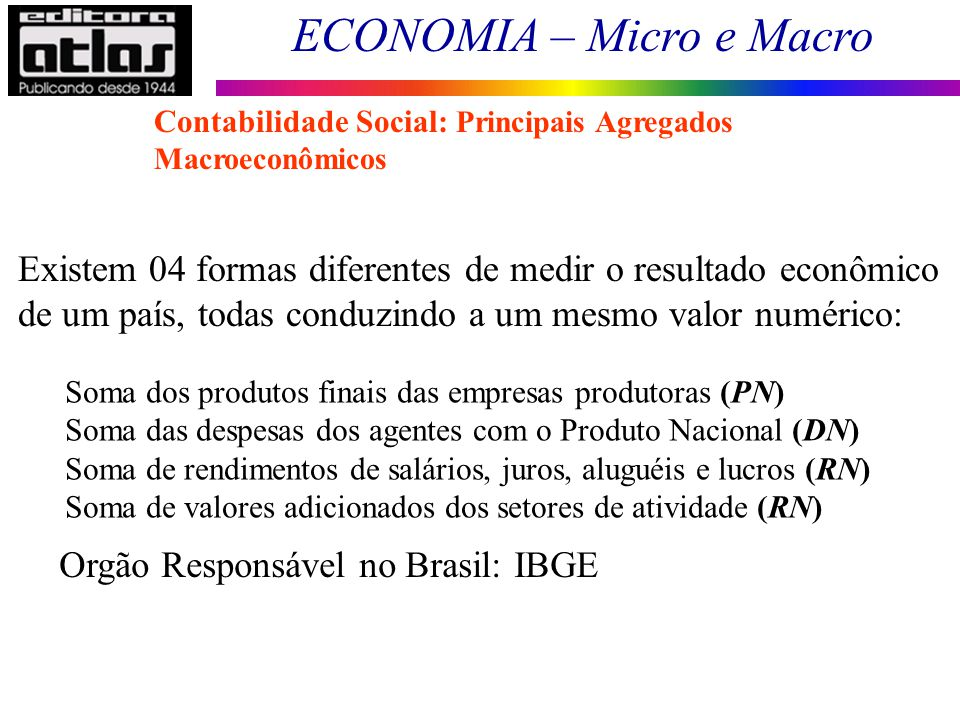 ECONOMIA – Micro e Macro 26 Existem 04 formas diferentes de medir o resultado econômico de um país, todas conduzindo a um mesmo valor numérico: Soma d