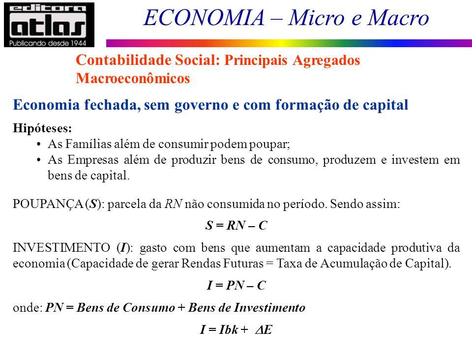 ECONOMIA – Micro e Macro 27 Contabilidade Social: Principais Agregados Macroeconômicos Economia fechada, sem governo e com formação de capital Hipótes