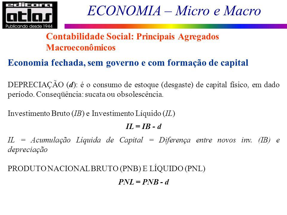 ECONOMIA – Micro e Macro 29 Contabilidade Social: Principais Agregados Macroeconômicos Economia fechada, sem governo e com formação de capital DEPRECI