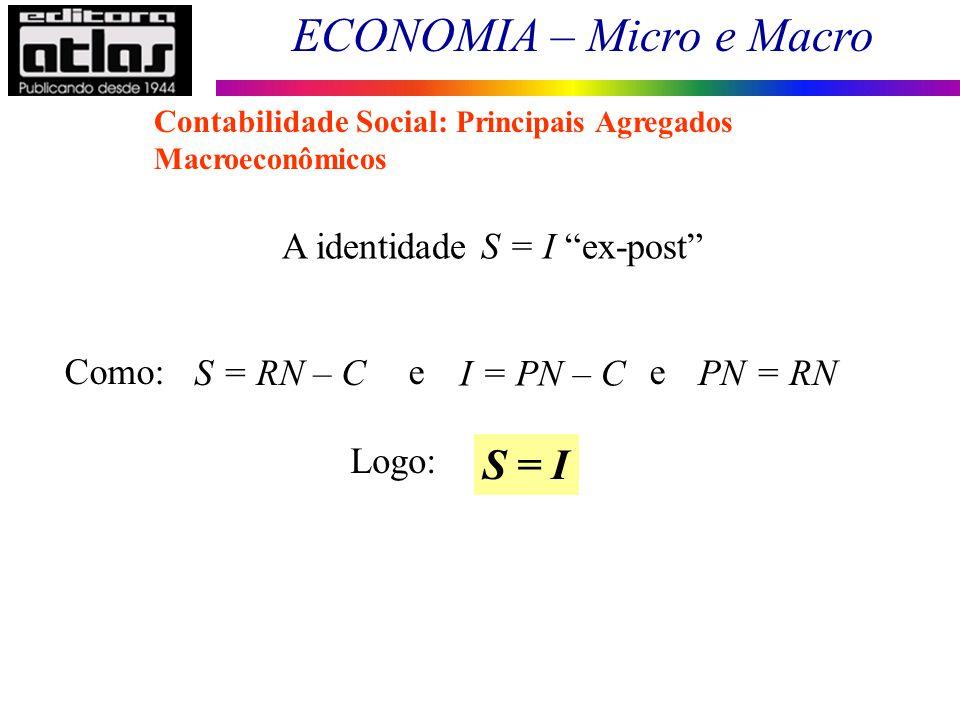 ECONOMIA – Micro e Macro 30 A identidade S = I ex-post Como: e e S = RN – C I = PN – C PN = RN Logo: S = I Contabilidade Social: Principais Agregados