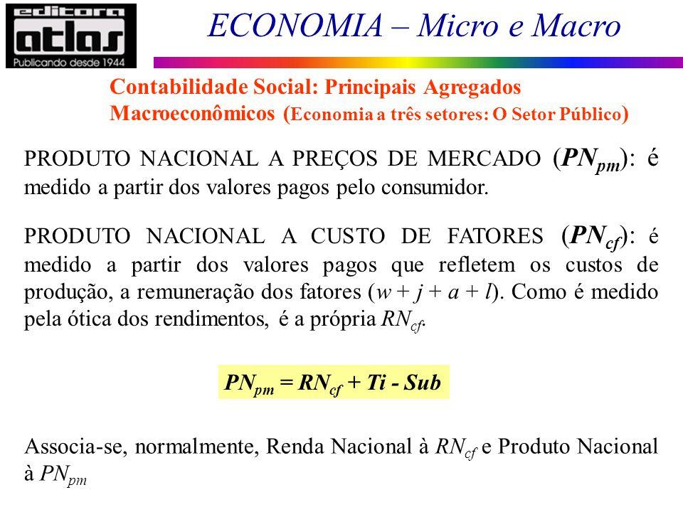 ECONOMIA – Micro e Macro 35 PRODUTO NACIONAL A PREÇOS DE MERCADO (PN pm ): é medido a partir dos valores pagos pelo consumidor. PRODUTO NACIONAL A CUS