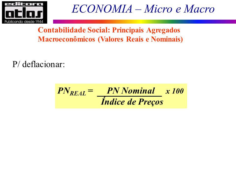 ECONOMIA – Micro e Macro 41 PN REAL = PN Nominal x 100 Índice de Preços P/ deflacionar: Contabilidade Social: Principais Agregados Macroeconômicos (Va