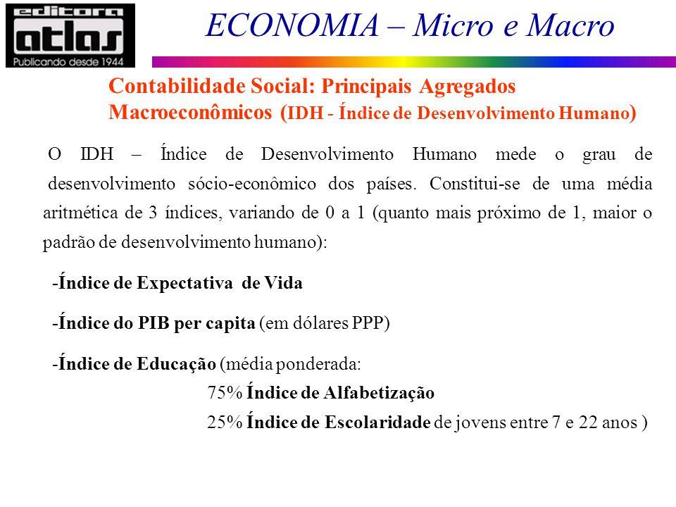 ECONOMIA – Micro e Macro 43 O IDH – Índice de Desenvolvimento Humano mede o grau de desenvolvimento sócio-econômico dos países. Constitui-se de uma mé