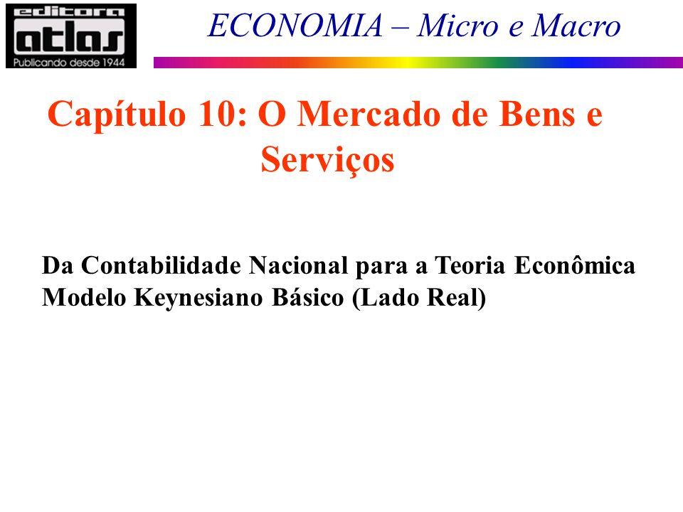 ECONOMIA – Micro e Macro 44 Da Contabilidade Nacional para a Teoria Econômica Modelo Keynesiano Básico (Lado Real) Capítulo 10: O Mercado de Bens e Se