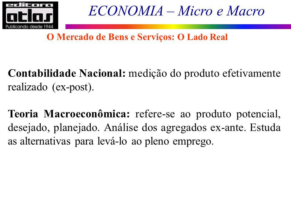 ECONOMIA – Micro e Macro 45 Contabilidade Nacional: medição do produto efetivamente realizado (ex-post). Teoria Macroeconômica: refere-se ao produto p
