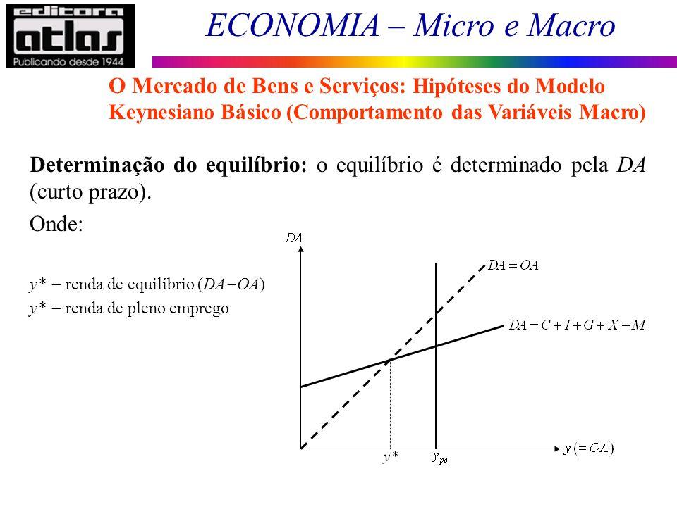 ECONOMIA – Micro e Macro 57 Determinação do equilíbrio: o equilíbrio é determinado pela DA (curto prazo). Onde: y* = renda de equilíbrio (DA=OA) y* =