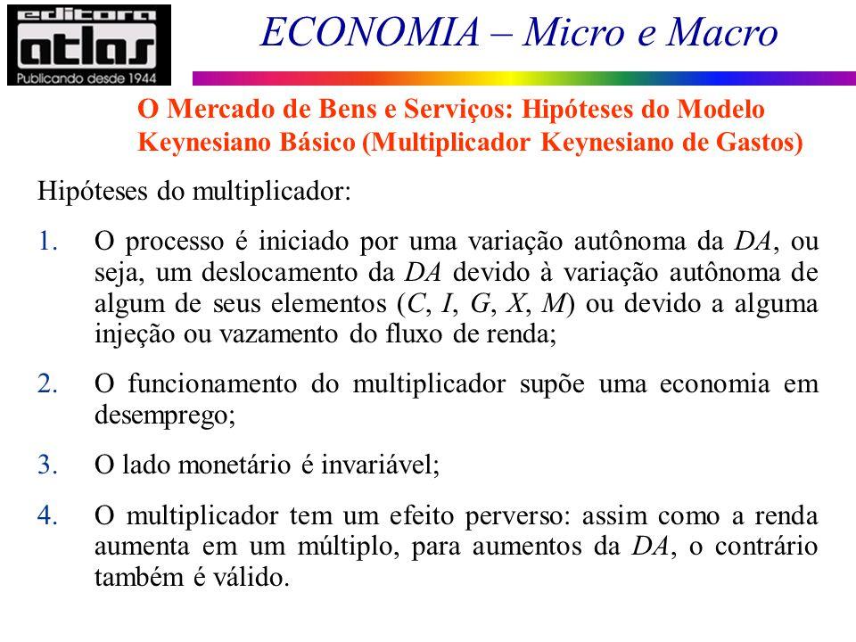 ECONOMIA – Micro e Macro 60 Hipóteses do multiplicador: 1.O processo é iniciado por uma variação autônoma da DA, ou seja, um deslocamento da DA devido