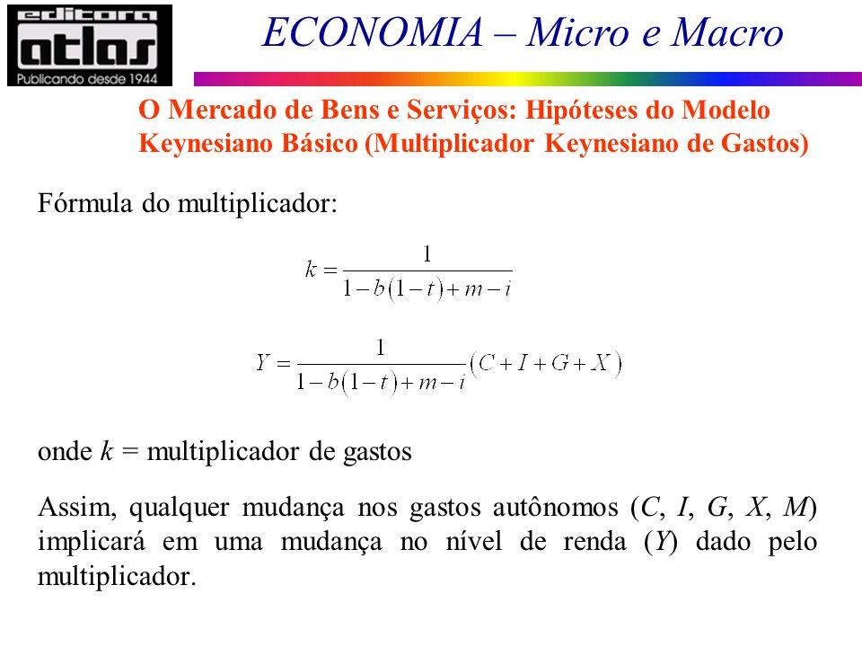 ECONOMIA – Micro e Macro 61 Fórmula do multiplicador: onde k = multiplicador de gastos Assim, qualquer mudança nos gastos autônomos (C, I, G, X, M) im