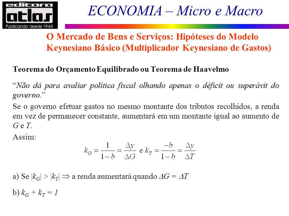 ECONOMIA – Micro e Macro 62 Teorema do Orçamento Equilibrado ou Teorema de Haavelmo Não dá para avaliar política fiscal olhando apenas o déficit ou su