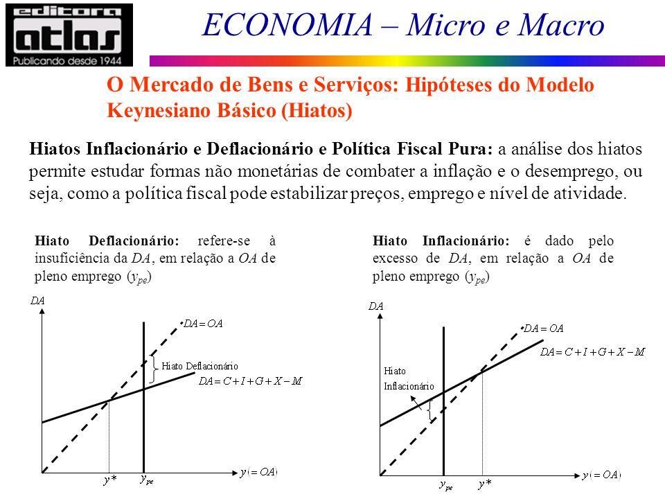ECONOMIA – Micro e Macro 63 Hiatos Inflacionário e Deflacionário e Política Fiscal Pura: a análise dos hiatos permite estudar formas não monetárias de