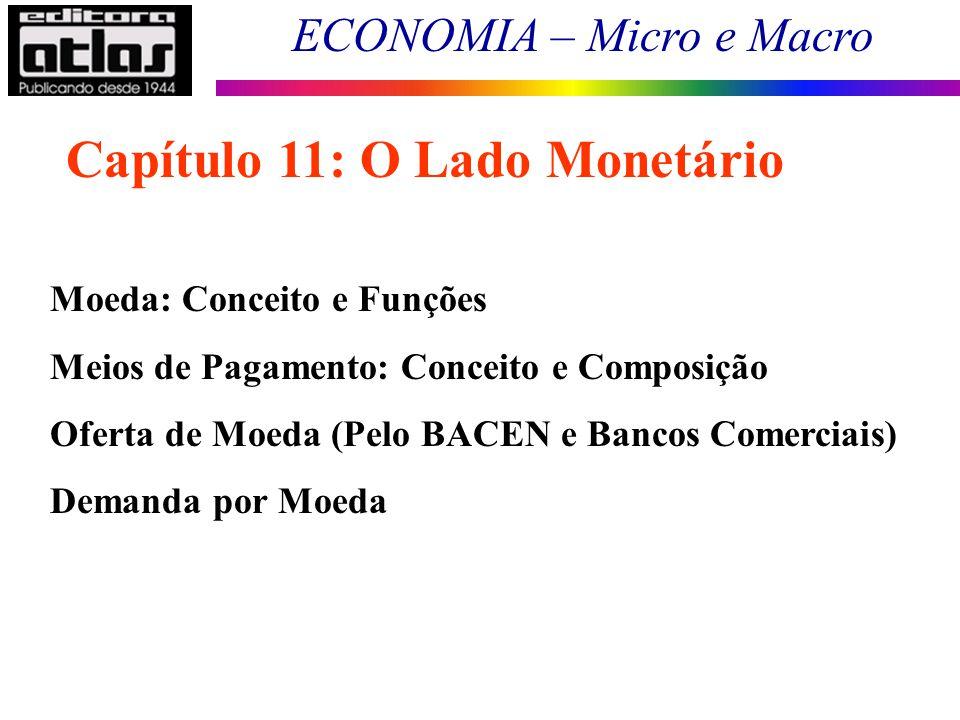 ECONOMIA – Micro e Macro 66 Moeda: Conceito e Funções Meios de Pagamento: Conceito e Composição Oferta de Moeda (Pelo BACEN e Bancos Comerciais) Deman