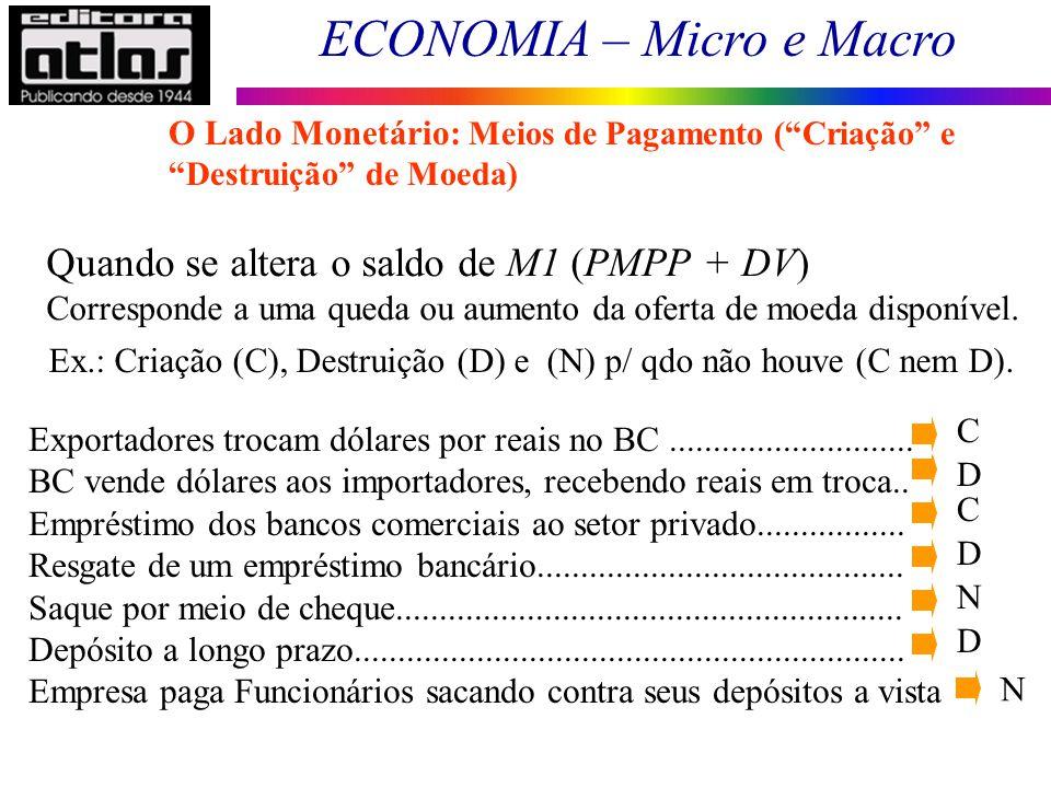 ECONOMIA – Micro e Macro 72 Quando se altera o saldo de M1 (PMPP + DV) Corresponde a uma queda ou aumento da oferta de moeda disponível. Ex.: Criação
