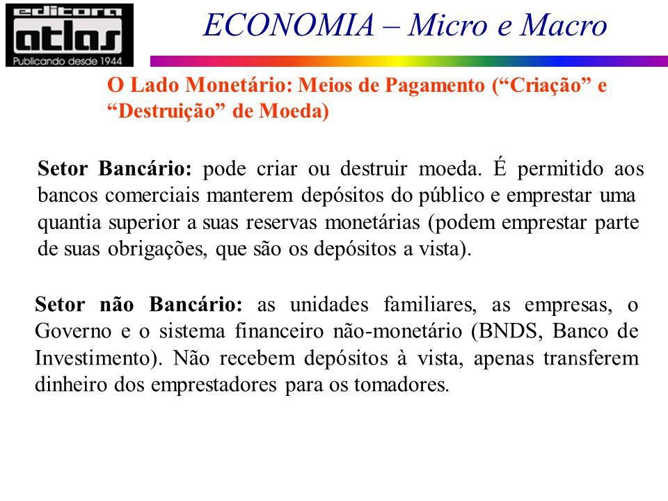 ECONOMIA – Micro e Macro 73 Setor não Bancário: as unidades familiares, as empresas, o Governo e o sistema financeiro não-monetário (BNDS, Banco de In