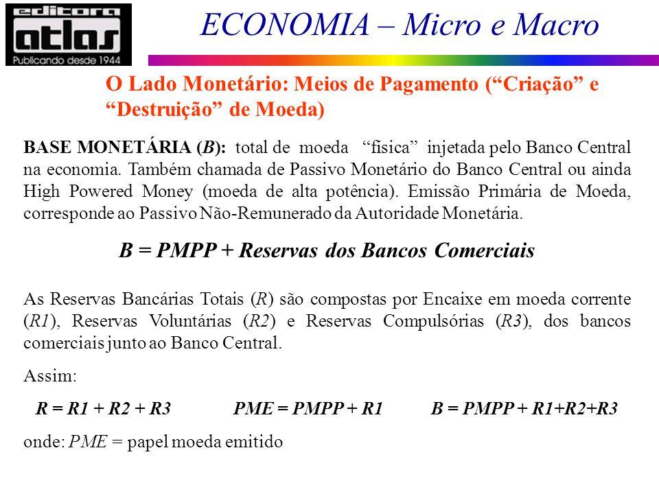 ECONOMIA – Micro e Macro 74 BASE MONETÁRIA (B): total de moeda física injetada pelo Banco Central na economia. Também chamada de Passivo Monetário do
