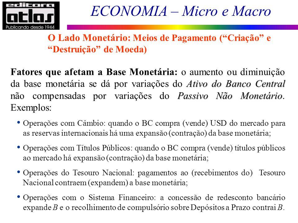 ECONOMIA – Micro e Macro 75 O Lado Monetário: Meios de Pagamento (Criação e Destruição de Moeda) Ativo do Banco Central Passivo Não Monetário Fatores