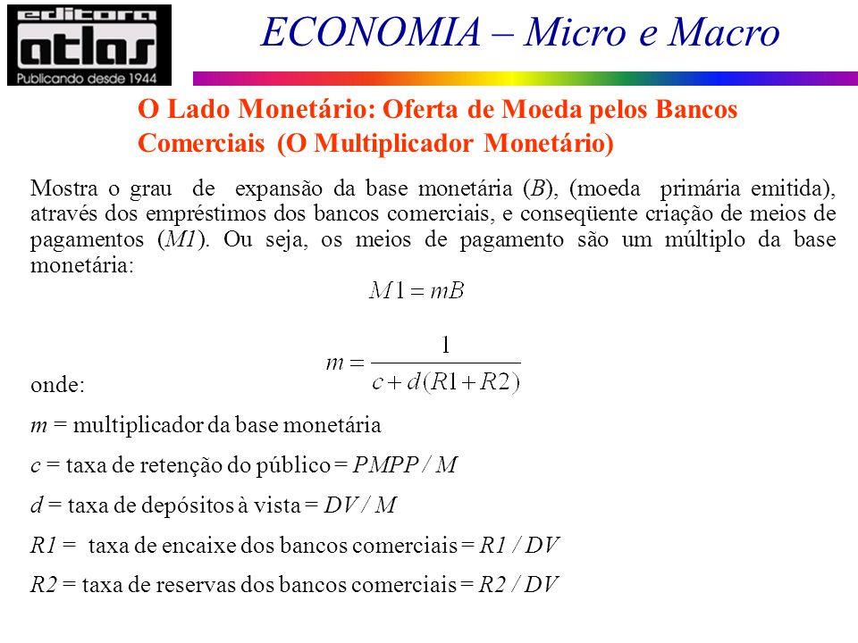 ECONOMIA – Micro e Macro 76 Mostra o grau de expansão da base monetária (B), (moeda primária emitida), através dos empréstimos dos bancos comerciais,
