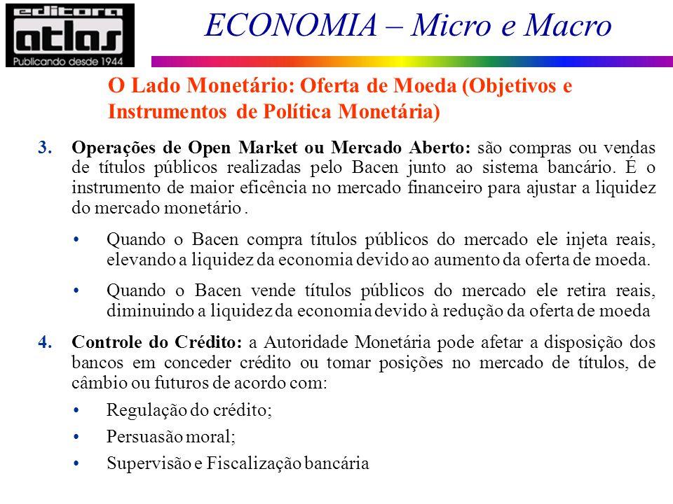 ECONOMIA – Micro e Macro 79 O Lado Monetário: Oferta de Moeda (Objetivos e Instrumentos de Política Monetária) 3.Operações de Open Market ou Mercado A