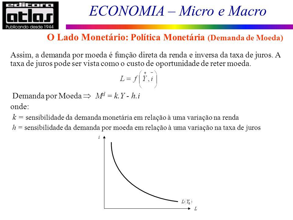 ECONOMIA – Micro e Macro 82 Assim, a demanda por moeda é função direta da renda e inversa da taxa de juros. A taxa de juros pode ser vista como o cust