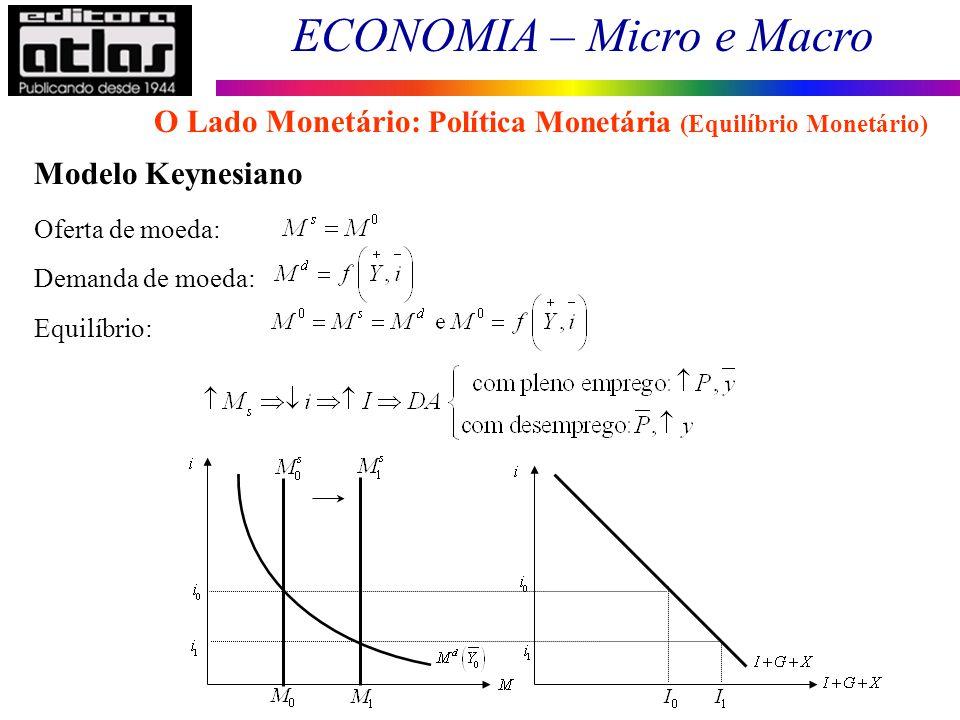 ECONOMIA – Micro e Macro 86 Modelo Keynesiano Oferta de moeda: Demanda de moeda: Equilíbrio: O Lado Monetário: Política Monetária (Equilíbrio Monetári