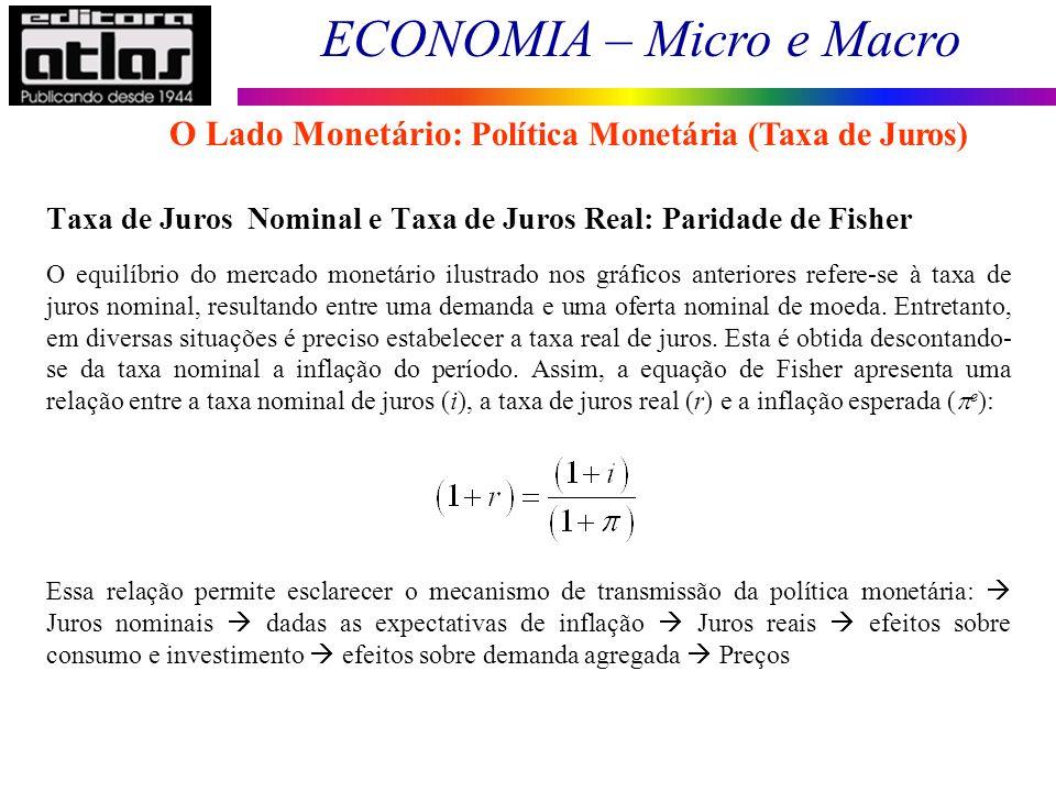 ECONOMIA – Micro e Macro 89 Taxa de Juros Nominal e Taxa de Juros Real: Paridade de Fisher O equilíbrio do mercado monetário ilustrado nos gráficos an