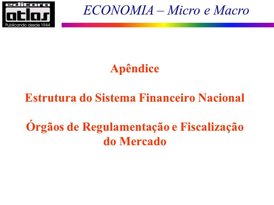 ECONOMIA – Micro e Macro 90 Apêndice Estrutura do Sistema Financeiro Nacional Órgãos de Regulamentação e Fiscalização do Mercado