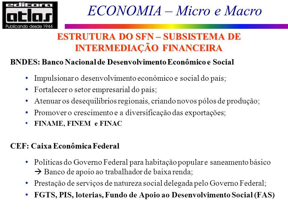 ECONOMIA – Micro e Macro 96 BNDES: Banco Nacional de Desenvolvimento Econômico e Social Impulsionar o desenvolvimento econômico e social do país; Fort