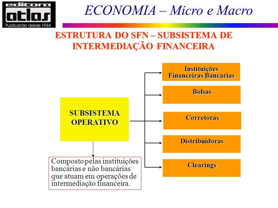 ECONOMIA – Micro e Macro 97 Instituições Financeiras Bancárias SUBSISTEMAOPERATIVO Composto pelas instituições bancárias e não bancárias que atuam em