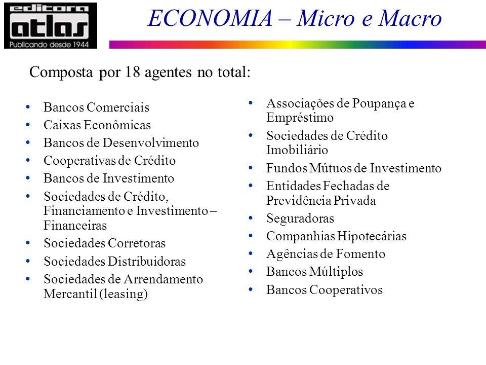 ECONOMIA – Micro e Macro 98 Bancos Comerciais Caixas Econômicas Bancos de Desenvolvimento Cooperativas de Crédito Bancos de Investimento Sociedades de
