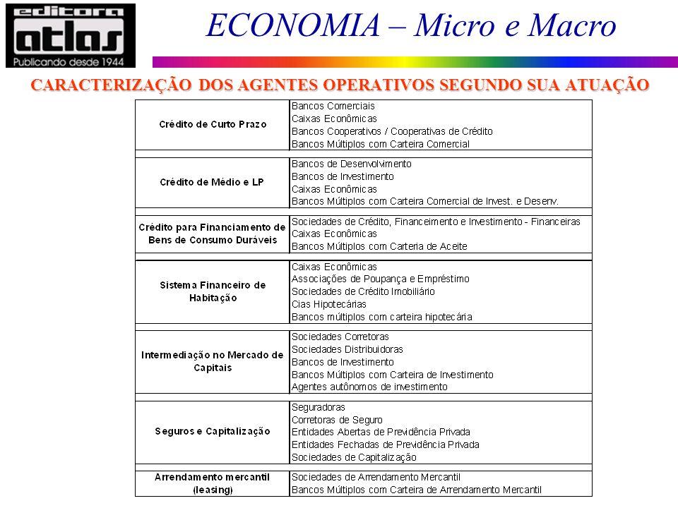 ECONOMIA – Micro e Macro 99 CARACTERIZAÇÃO DOS AGENTES OPERATIVOS SEGUNDO SUA ATUAÇÃO