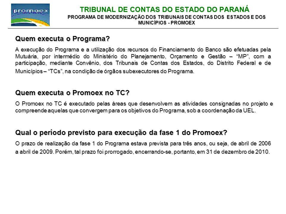TRIBUNAL DE CONTAS DO ESTADO DO PARANÁ PROGRAMA DE MODERNIZAÇÃO DOS TRIBUNAIS DE CONTAS DOS ESTADOS E DOS MUNICÍPIOS - PROMOEX Quem executa o Promoex no TC.