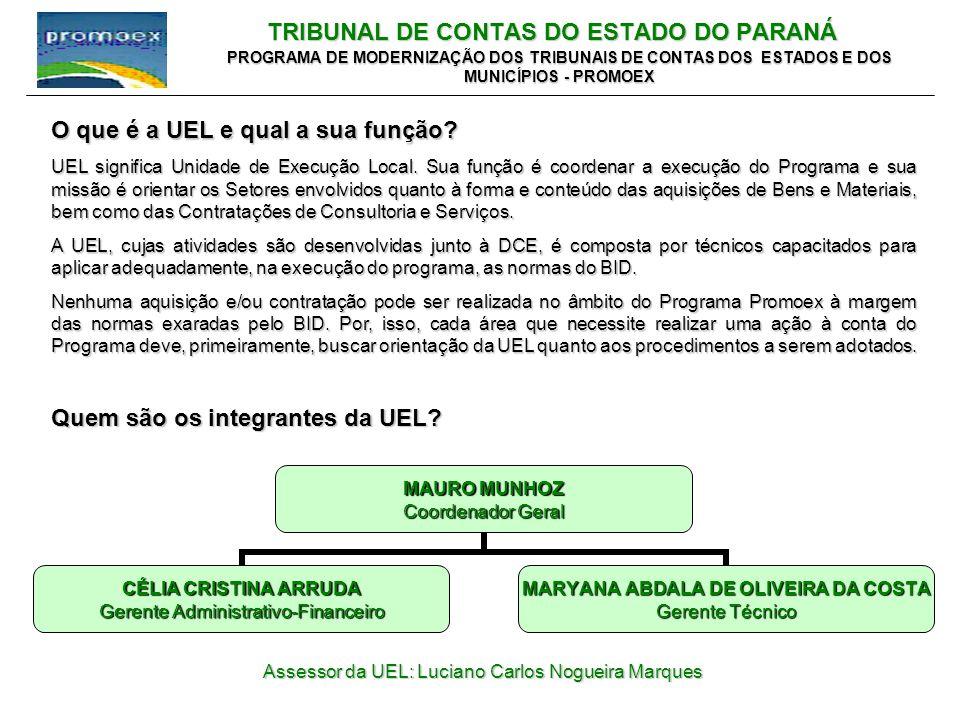 TRIBUNAL DE CONTAS DO ESTADO DO PARANÁ PROGRAMA DE MODERNIZAÇÃO DOS TRIBUNAIS DE CONTAS DOS ESTADOS E DOS MUNICÍPIOS - PROMOEX O que é a UEL e qual a sua função.