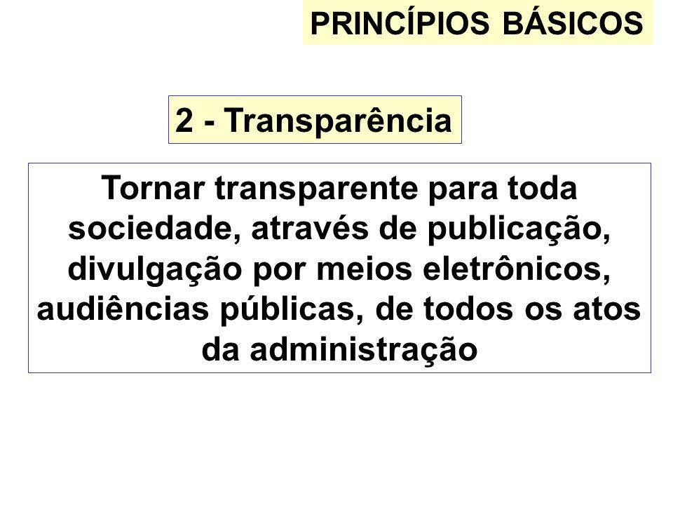 PRINCÍPIOS BÁSICOS 2 - Transparência Tornar transparente para toda sociedade, através de publicação, divulgação por meios eletrônicos, audiências públ