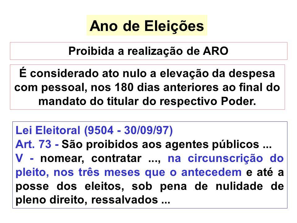 Ano de Eleições Proibida a realização de ARO É considerado ato nulo a elevação da despesa com pessoal, nos 180 dias anteriores ao final do mandato do