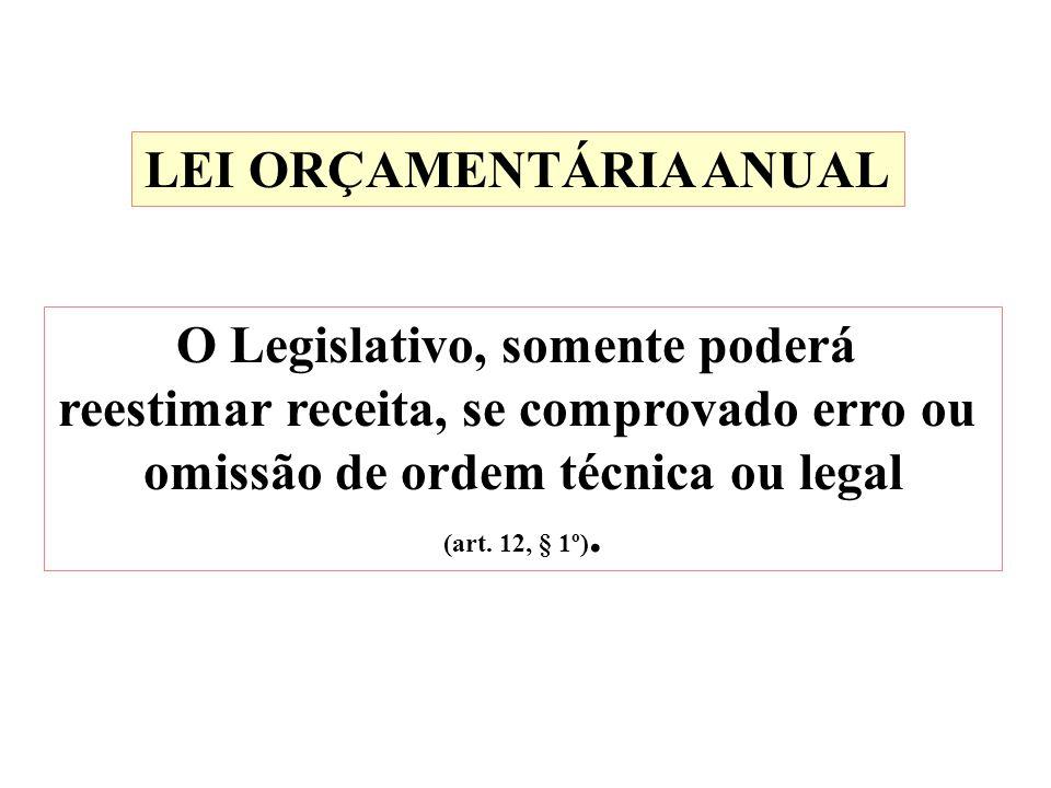 LEI ORÇAMENTÁRIA ANUAL O Legislativo, somente poderá reestimar receita, se comprovado erro ou omissão de ordem técnica ou legal (art. 12, § 1º).