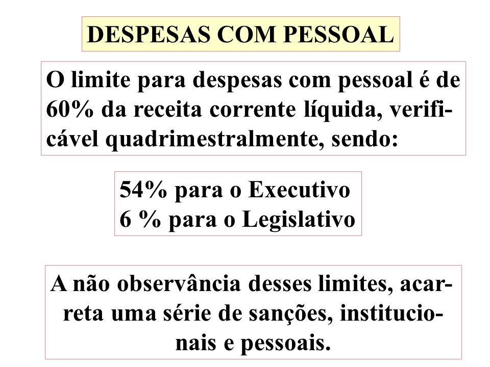 DESPESAS COM PESSOAL O limite para despesas com pessoal é de 60% da receita corrente líquida, verifi- cável quadrimestralmente, sendo: 54% para o Exec