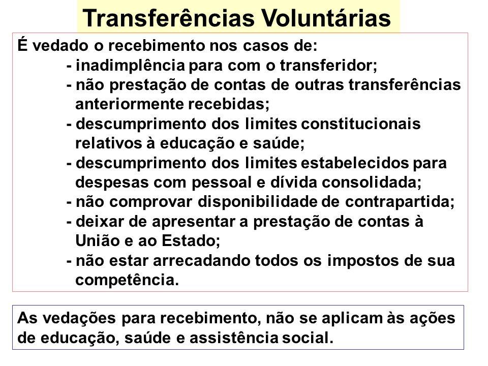 Transferências Voluntárias As vedações para recebimento, não se aplicam às ações de educação, saúde e assistência social. É vedado o recebimento nos c