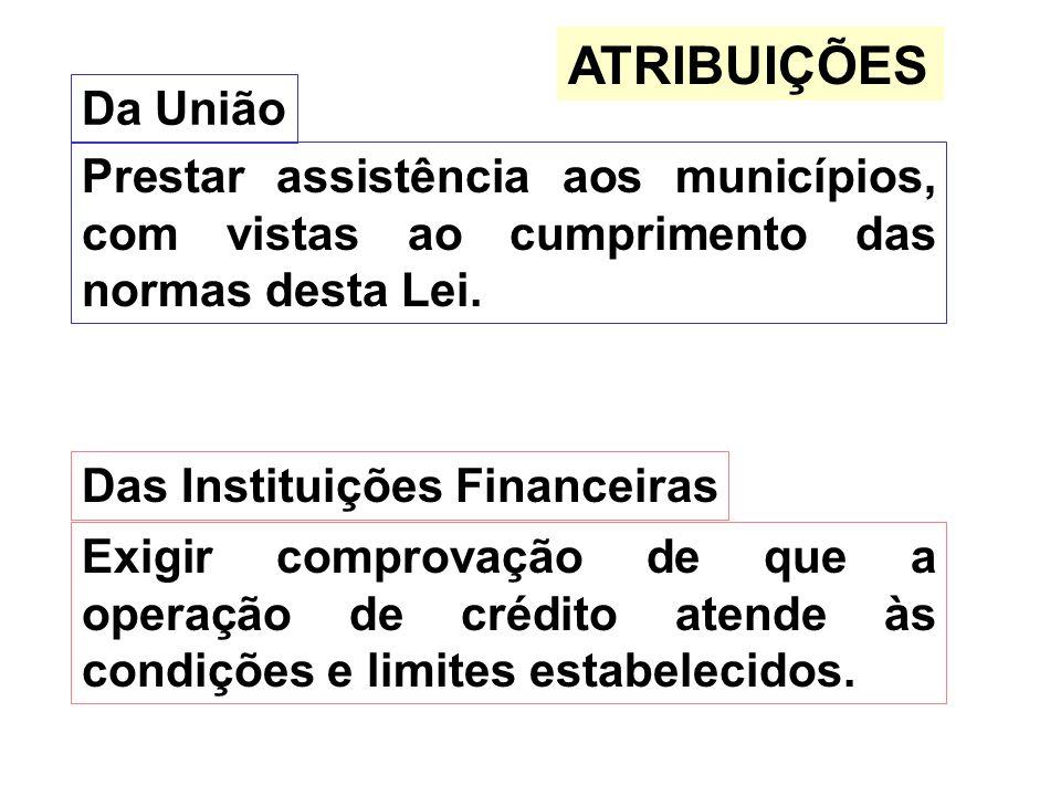 ATRIBUIÇÕES Da União Prestar assistência aos municípios, com vistas ao cumprimento das normas desta Lei. Das Instituições Financeiras Exigir comprovaç