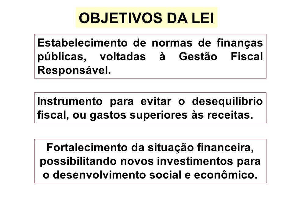 OBJETIVOS DA LEI Estabelecimento de normas de finanças públicas, voltadas à Gestão Fiscal Responsável. Fortalecimento da situação financeira, possibil