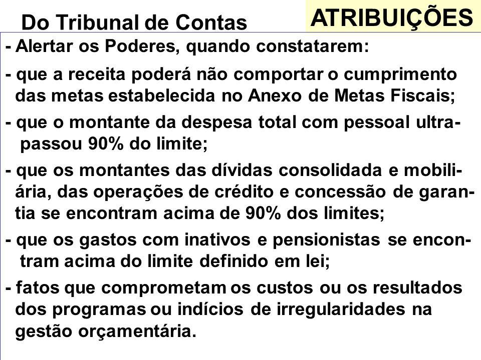 ATRIBUIÇÕES Do Tribunal de Contas - Alertar os Poderes, quando constatarem: - que a receita poderá não comportar o cumprimento das metas estabelecida