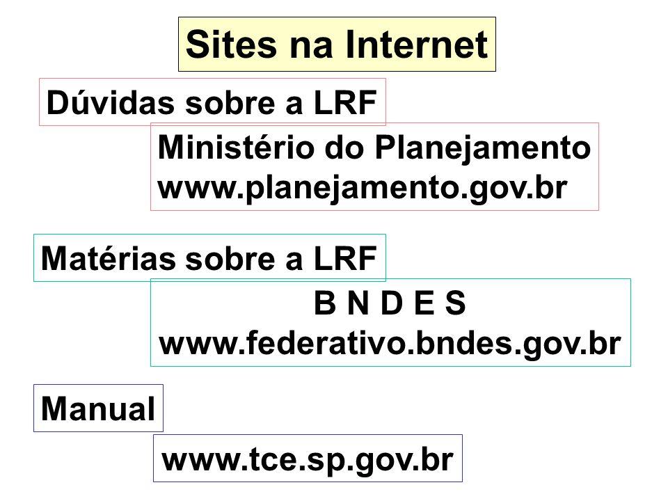 Sites na Internet Dúvidas sobre a LRF Ministério do Planejamento www.planejamento.gov.br Matérias sobre a LRF B N D E S www.federativo.bndes.gov.br Ma