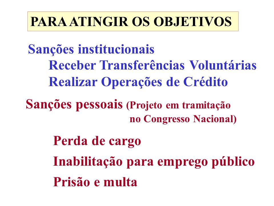 PARA ATINGIR OS OBJETIVOS Sanções institucionais Receber Transferências Voluntárias Realizar Operações de Crédito Sanções pessoais (Projeto em tramita
