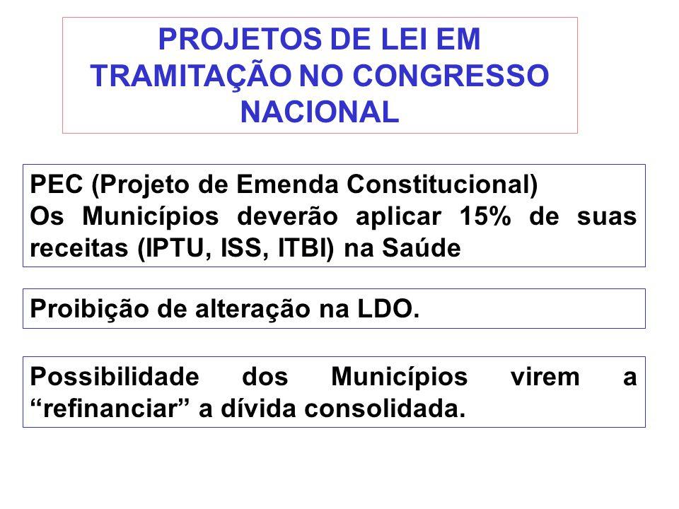 PROJETOS DE LEI EM TRAMITAÇÃO NO CONGRESSO NACIONAL PEC (Projeto de Emenda Constitucional) Os Municípios deverão aplicar 15% de suas receitas (IPTU, I