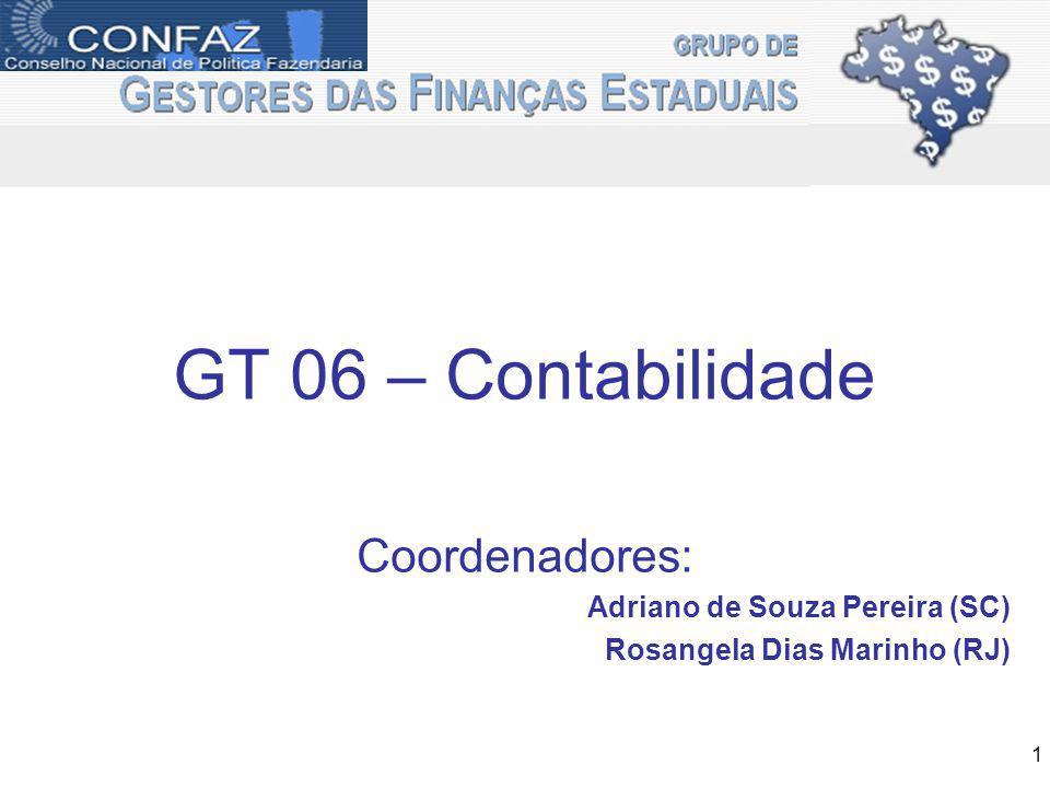 GT Contabilidade GEFIN: Fórum de discussão dos Contadores dos Estados – realizar reuniões trimestrais (anteriores ao GEFIN); Fortalecer a representação dos Contadores dos Estados nos Grupos técnicos da STN de Padronização Contábil, LRF e Sistema (GTCON, GTREL e GTSIS); Ações Prioritárias - 2011 2