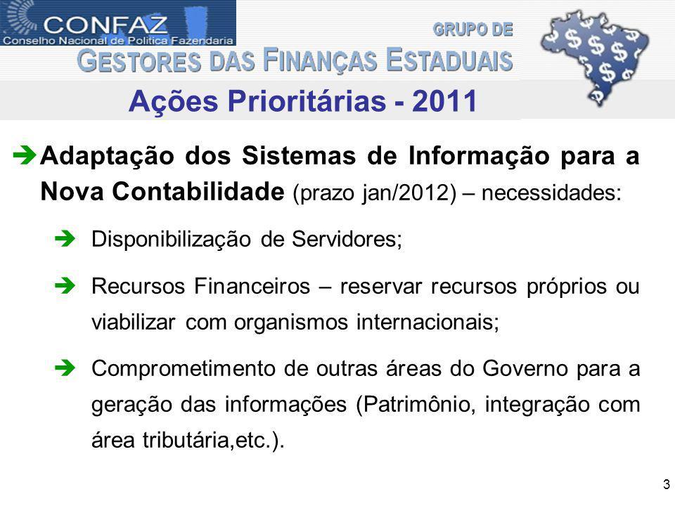 Ações realizadas no trimestre Realização da II Reunião Extraordinária do GT 06 – Contabilidade GEFIN (14/02/11 – Rio de Janeiro-RJ); Estruturação do GT Contabilidade GEFIN 2011; Definição dos Representantes do GEFIN nos GTs da STN (GTCON, GTREL e GTSIS); Realização da III Reunião Extraordinária do GT 06 – Contabilidade GEFIN (23/03/11 – Florianópolis-SC).