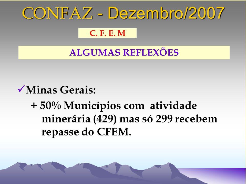 CONFAZ - Dezembro/2007 Minas Gerais: + 50% Municípios com atividade minerária (429) mas só 299 recebem repasse do CFEM.