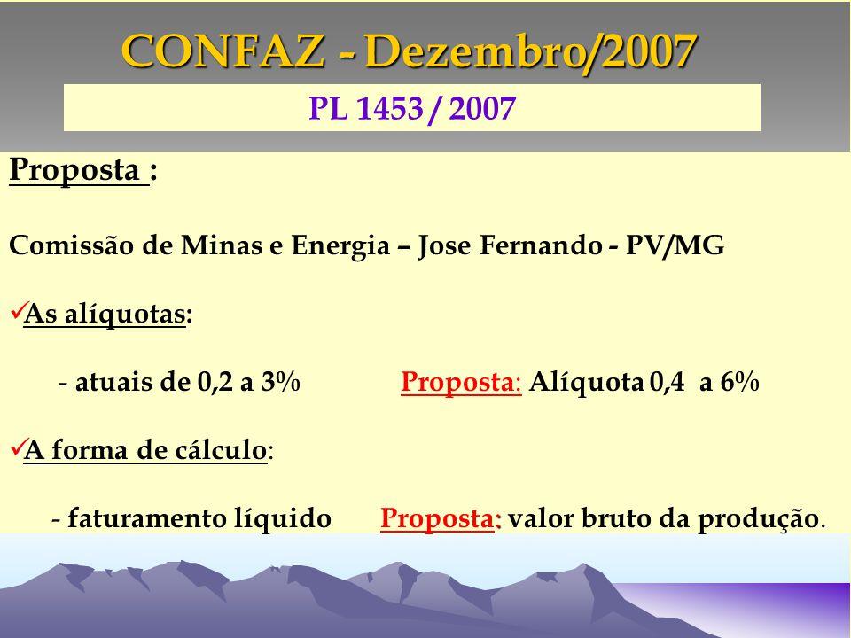 Proposta : Comissão de Minas e Energia – Jose Fernando - PV/MG : As alíquotas: - - atuais de 0,2 a 3% Proposta : Alíquota 0,4 a 6% A A forma de cálculo : :.