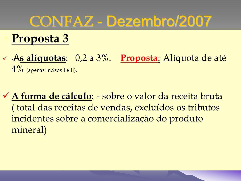 CONFAZ - Dezembro/2007 Proposta 3 - A s alíquotas : 0,2 a 3%.