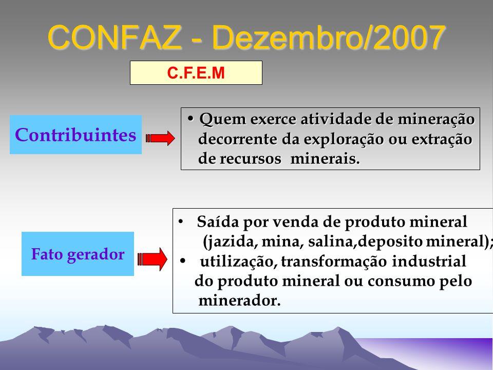 CONFAZ - Dezembro/2007 Quem exerce atividade de mineração Quem exerce atividade de mineração decorrente da exploração ou extração decorrente da exploração ou extração de recursos minerais.